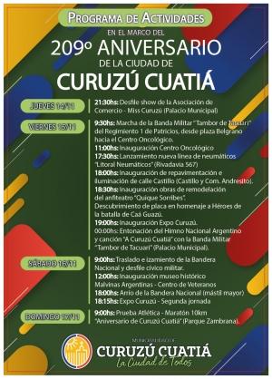 Programa de actos oficiales por el 209° Aniversario de Curuzú Cuatiá