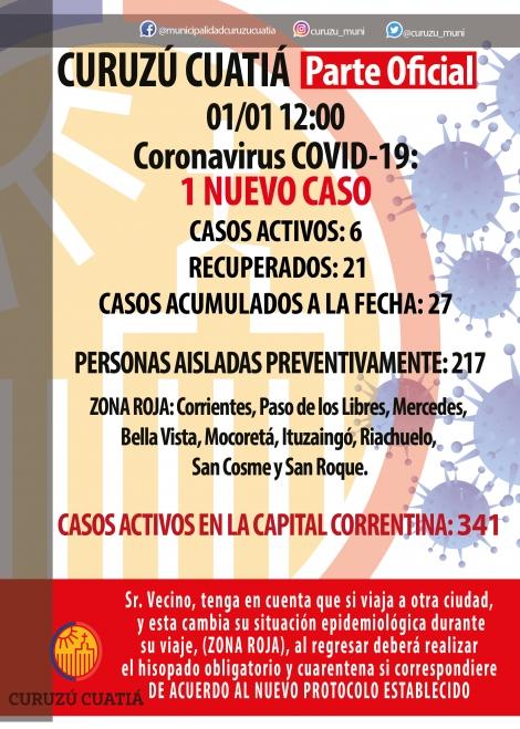 Curuzú inicia el año con un nuevo caso de covid positivo