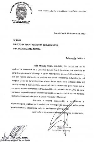 El intendente Irigoyen pide a las autoridades militares que habiliten el Hospital Militar