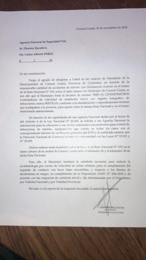 El intendente Irigoyen reclamó por la rotonda ante el Gobierno Nacional