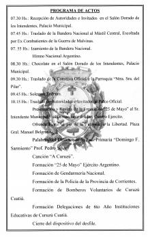 Programa de actos para el 25 de Mayo