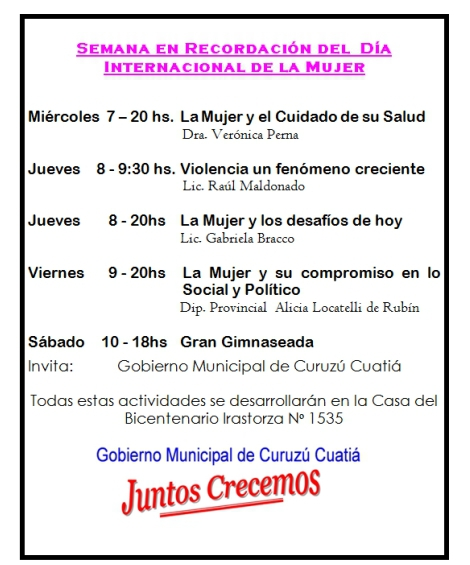 Semana en Recordación del  Día Internacional de la Mujer