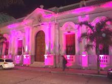El Palacio Municipal se iluminó de rosa