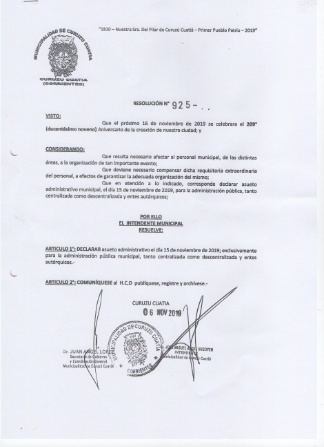 El Intendente Irigoyen resolvió declarar asueto administrativo para el viernes 15