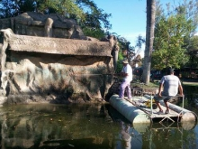 Trabajos en la cascada del Parque Mitá Rori
