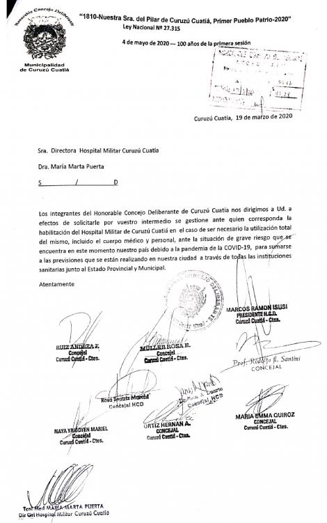 Concejales se suman al pedido del Intendente de habilitar el Hospital Militar ante el Coronavirus