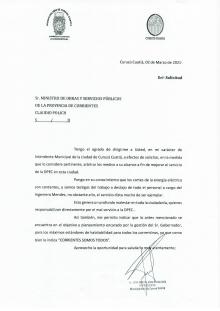 Por los constantes cortes de energía en Curuzú, el Intendente envió una nota de reclamo al Ministerio de Obras de la Provincia