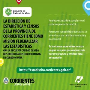En Curuzú Cuatiá el gobierno provincial realiza una encuesta sobre calidad de vida