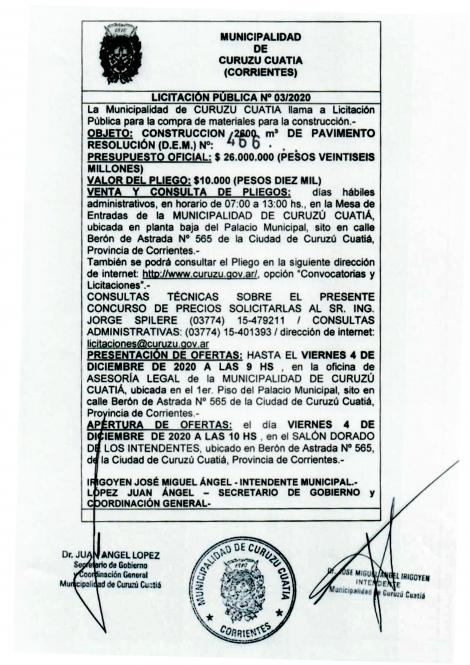 La Municipalidad de Curuzú Cuatiá llama a licitación pública para la compra de materiales para la construcción