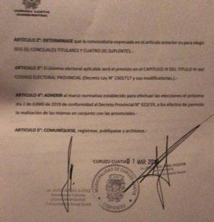 CURUZÚ ADHIERE A LAS LEGISLATIVAS PROVINCIALES Y ELEGIRÁ A SUS CONCEJALES EL 2 DE JUNIO