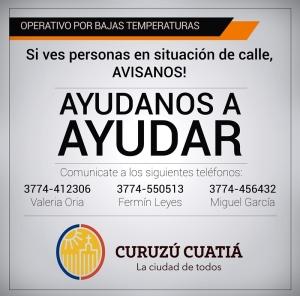 EL MUNICIPIO HABILITÓ NÚMEROS TELEFÓNICOS PARA ALERTAR SOBRE PERSONAS EN SITUACIÓN DE CALLE