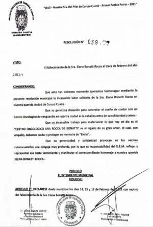 El Intendente resolvió duelo municipal por el fallecimiento de Elena Bonatti