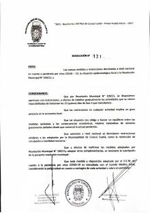 El Intendente dio a conocer nuevas medidas restrictivas por el covid-19